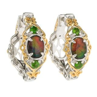 Michael Valitutti Palladium Silver Ammolite & Chrome Diopside Hoop Earrings w/ Clicker Backs