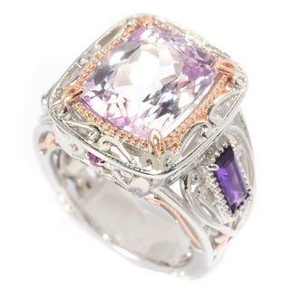 Michael Valitutti Palladium Silver Cushion Cut Kunzite, African Amethyst, and Pink Sapphire Ring