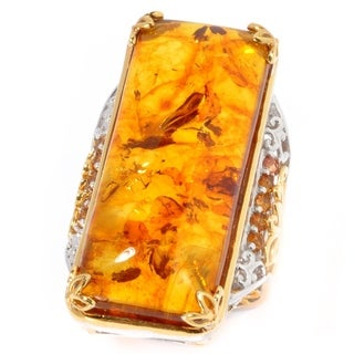 Michael Valitutti Palladium Silver Amber & Madeira Citrine Elongated Ring
