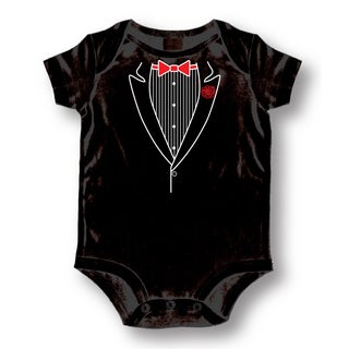 Black Cotton 'Romper Tuxedo' Baby Bodysuit One-piece
