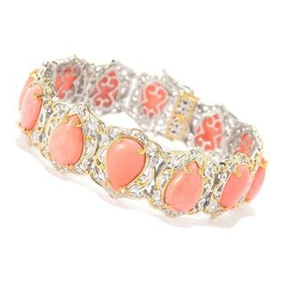 Michael Valitutti Palladium Silver Pear Shaped Bamboo Coral Tennis Bracelet with Magnetic Clasp