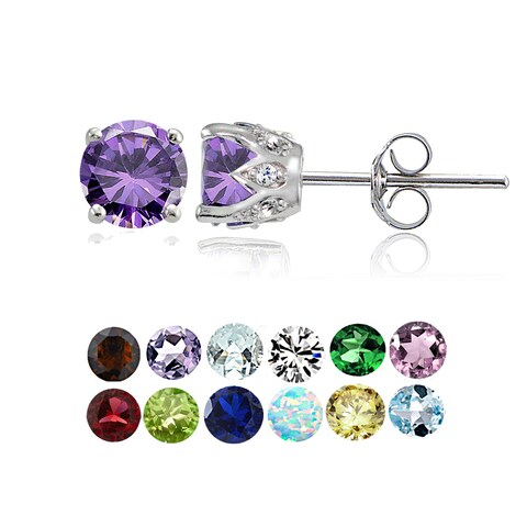 Glitzy Rocks Sterling Silver Gemstone and White Topaz Crown Stud Earrings
