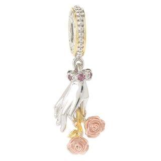Michael Valitutti Palladium Silver Pink Tourmaline Hand & Rose Drop Charm