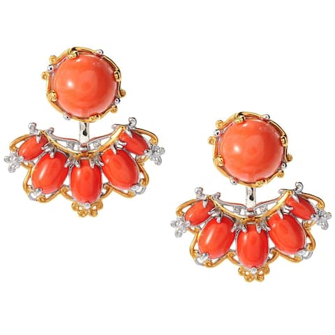 Michael Valitutti Palladium Silver Salmon Bamboo Coral Stud Earrings w/ Earring Jackets