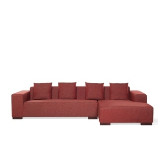 Corner Fabric Sectional Sofa - LUNGO (Left or Right Facing) - Red