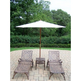 Dakota Set of 2 Cast Aluminum Chaise Lounges with Side Table and White Umbrella