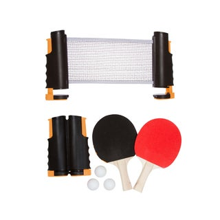 Trademark Innovations Orange Anywhere Table Tennis Set with Paddles and Balls