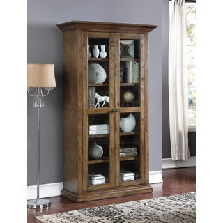 Abbyson Cypress Weathered Oak Glass Bookcase