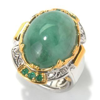 Michael Valitutti Palladium Silver Opaque Emerald Cabochon Ring (Option: Gold Overlay)