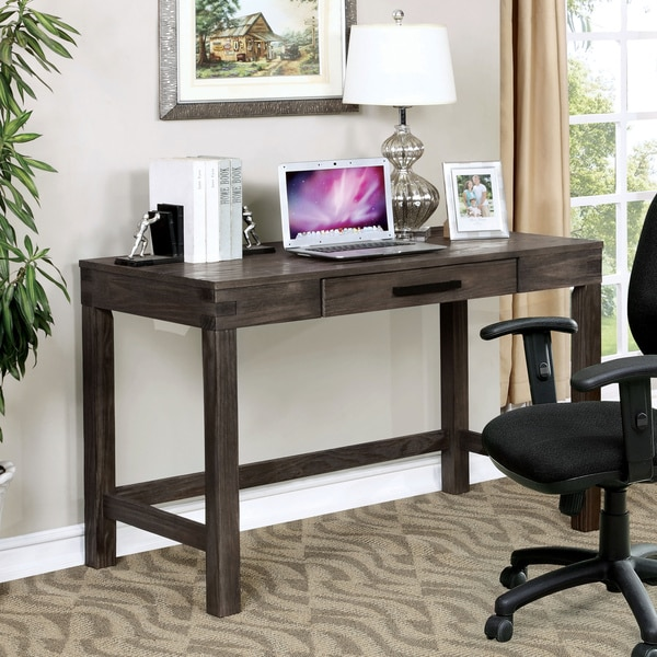 Furniture Of America Midley Rustic Wire Brushed Dark Grey Writing Desk With Keyboard  Tray