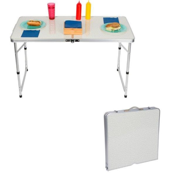 Trademark Innovations Aluminum Adjustable Folding Camp Table