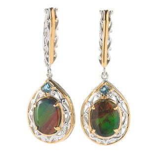 Michael Valitutti Palladium Silver Ammolite & London Blue Topaz Drop Earrings