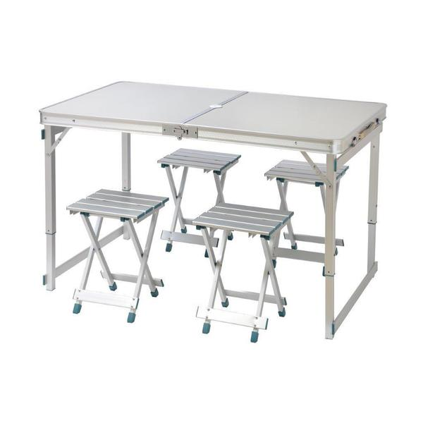 Trademark Innovations Aluminum Lightweight Folding Camp Table and Stools Set