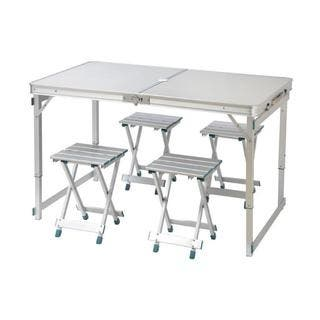 Trademark Innovations Aluminum Lightweight Folding Camp Table and Stools Set|https://ak1.ostkcdn.com/images/products/13768743/P20422392.jpg?impolicy=medium