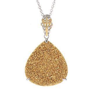 Michael Valitutti Palladium Silver Pear Shaped Gold/Rose Drusy Pendant
