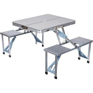Trademark Innovations Portable Aluminum Folding Picnic Table with 4 Seats