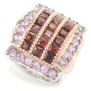 Michael Valitutti Palladium Silver Princess Garnet & Pink Sapphire Square Shaped Dome Ring