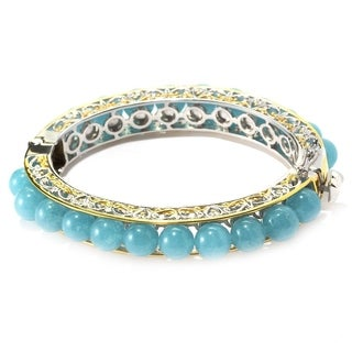 Michael Valitutti Palladium Silver Beaded Aquamarine Bangle Bracelet