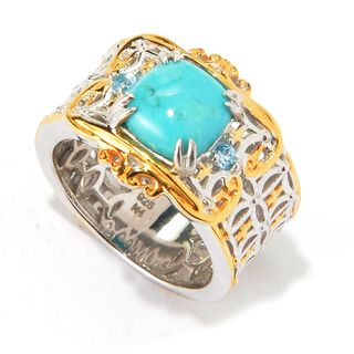 Michael Valitutti Palladium Silver Baby Blue Kingman Turquoise & Swiss Blue Topaz Wide Band Ring