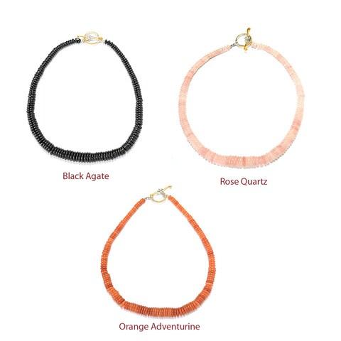 Michael Valitutti Palladium Silver Graduated Black Agate/Rose Quartz/Orange Aventurine Toggle Necklace