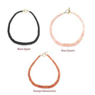 Michael Valitutti Palladium Silver Graduated Black Agate/Rose Quartz/Orange Adventurine Toggle Necklace