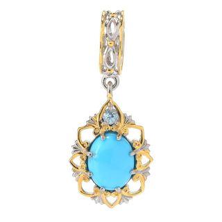 Michael Valitutti Palladium Silver Arizona Turquoise & Sky Blue Topaz Drop Charm