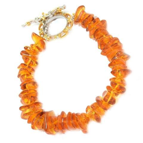 Gems en Vogue Palladium Silver Baltic Amber Freeform Bead Toggle Bracelet