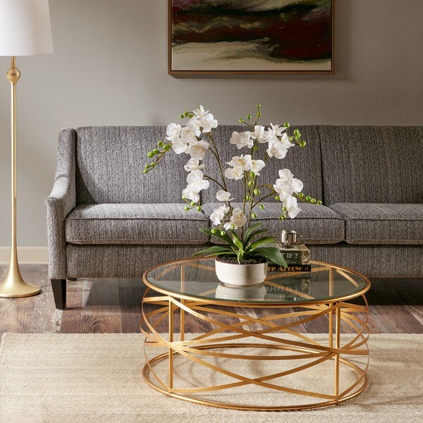 Gold Outdoor Coffee Table: Madison Park Susie Gold Coffee Table