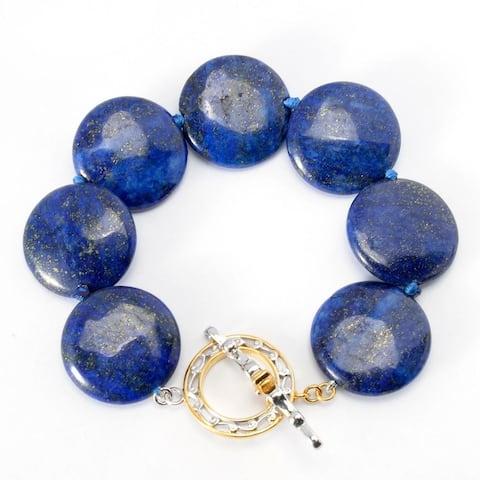 Gems en Vogue Palladium Silver Polished Lapis Lazuli Disk Toggle Bracelet