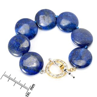 Michael Valitutti Palladium Silver Polished Lapis Lazuli Disk Toggle Bracelet
