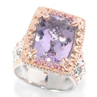 Michael Valitutti Palladium Silver Checkerboard Cut Pink Amethyst & Pink Sapphire Ring