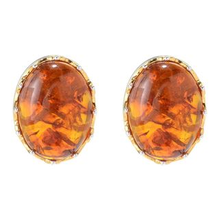 Michael Valitutti Palladium Silver Oval Amber Stud Earrings