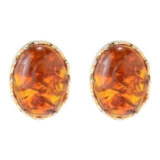 Michael Valitutti Palladium Silver Oval Amber Stud Earrings|https://ak1.ostkcdn.com/images/products/13768818/P20422488.jpg?impolicy=medium
