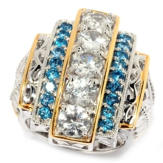 Michael Valitutti Palladium Silver White Zircon & London Blue Topaz Elongated Ring