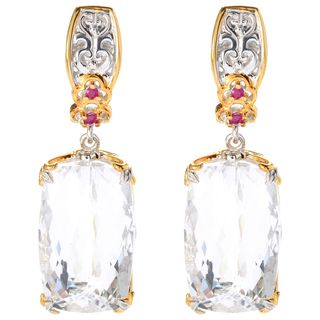 "Michael Valitutti Palladium Silver White Quartz & Ruby ""Cento Facet"" Drop Earrings"