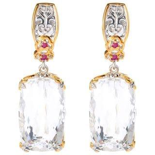 "Michael Valitutti Palladium Silver White Quartz & Ruby ""Cento Facet"" Drop Earrings"