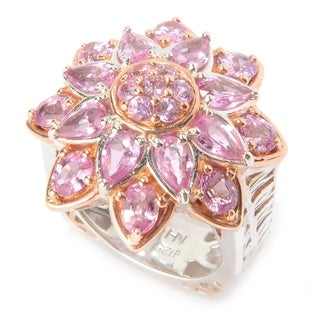 Michael Valitutti Palladium Silver Multi Shape Pink Sapphire Flower Ring