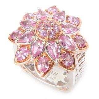 Michael Valitutti Palladium Silver Multi Shape Pink Sapphire Flower Ring