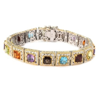 Michael Valitutti Palladium Silver Princess Cut Multi Gemstone Tennis Bracelet with Slide Insert Clasp