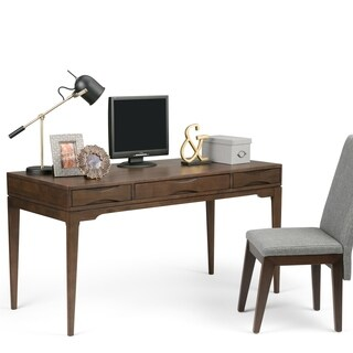 WYNDENHALL Pearson Solid Hardwood Office Desk in Walnut Brown