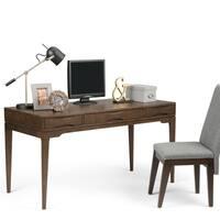 WYNDENHALL Pearson Solid Hardwood Mid Century Modern 60 inch Wide Writing Office Desk in Walnut Brown