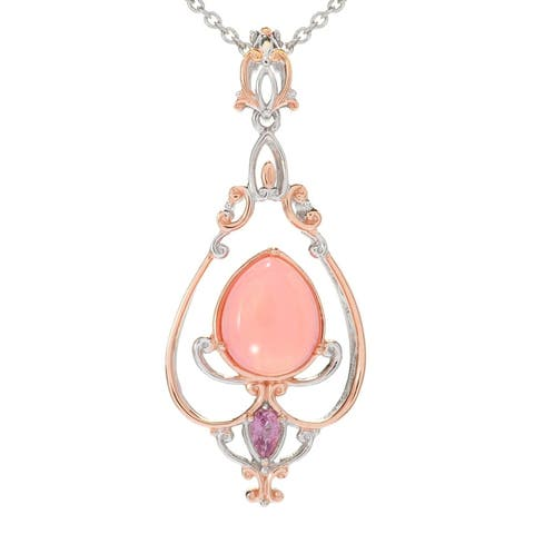 Michael Valitutti Palladium Silver Pearshaped Pink Peruvian Opal & Pink Sapphire Pendant with Extender