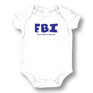 Babies' White 'FBI' Bodysuit One-piece|https://ak1.ostkcdn.com/images/products/13768848/P20422519.jpg?impolicy=medium