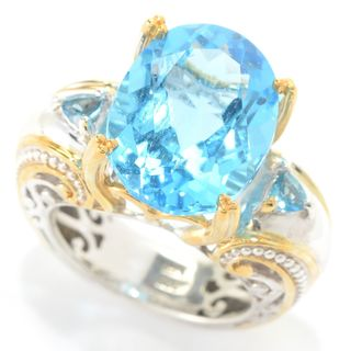Michael Valitutti Palladium Silver Swiss & London Blue Topaz Scrollwork Ring