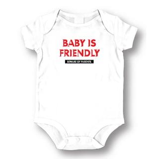 'Baby Is Friendly Beware Of Parents' White Baby Bodysuit Onesie