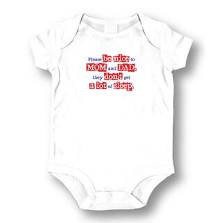 White 'Please Be Nice' Baby Bodysuit