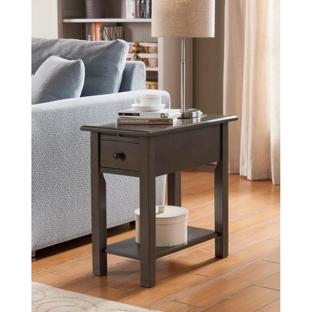 Sutton Brushed Grey Wood, MDF Side Table with Charging Station