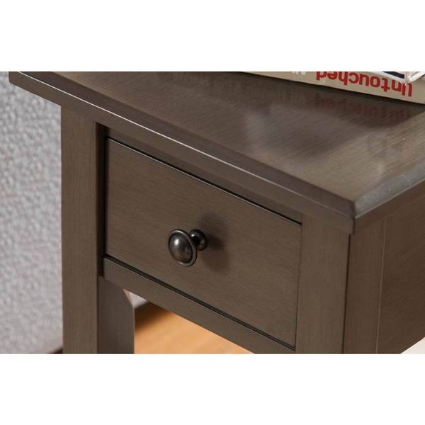 Sutton Brushed Grey Wood, MDF Side Table With Charging Station   Free  Shipping Today   Overstock.com   20422652