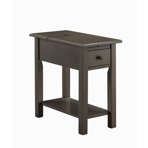 Sutton Brushed Grey Wood  MDF Side Table with Charging Station   Free  Shipping Today   Overstock com   20422652. Sutton Brushed Grey Wood  MDF Side Table with Charging Station