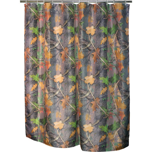 REP Realtree Camo Shower Curtain with 12 Plastic Shower Curtain Rings